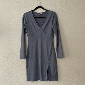 H&M Gray Long Sleeve Fitted Midi Front Slit Dress